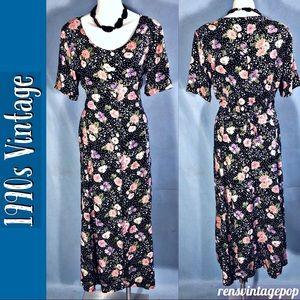 VNTG 1990s Tie Back Floral Flounce Dress